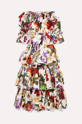 Dolce & Gabbana Off-the-shoulder Tiered Floral-print Silk-satin Gown - White