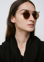 Yohji Yamamoto Dirty Gold Rimless Wire Top Round Sunglasses