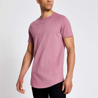 River Island Pink longline slim fit T-shirt