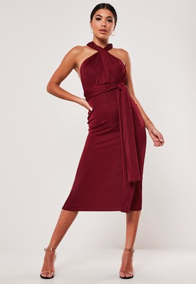 Missguided Red Slinky Multiway Midi Dress