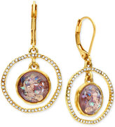 lonna & lilly Gold-Tone Purple Stone and Pavé Orbital Drop Earrings