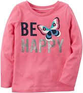 Carter's Girls' 2T-8 Be Happy Long Sleeve Tee