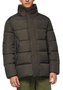 Andrew Marc Men's Down Puffer Jacket with Fleece Bib