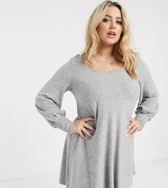 Asos DESIGN Curve super soft mini smock dress in grey