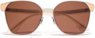 Mazzini Zanzan Round-frame Silver-tone And Enamel Sunglasses