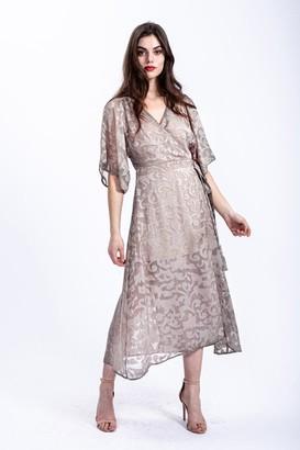 Liquorish Khaki Midi Wrap Dress with Kimono Sleeves