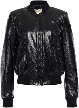 MICHAEL Michael Kors Faux Glossed-leather Bomber Jacket