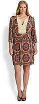 T-Bags Los Angeles, Sizes 14-24 Beaded-Neckline Tribal-Print Dress