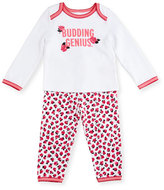Kate Spade Budding Genius Pajama Set, White, Size 3-9 Months