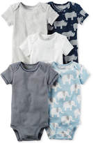 Carter's 5-Pk. Stripes & Animals Cotton Bodysuits, Baby Boys (0-24 months)