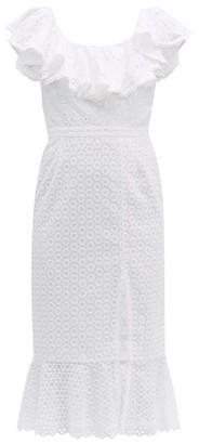Saloni Ella Ruffled Cotton Broderie Anglaise Midi Dress - White