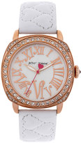 Betsey Johnson Heart Quilted Leather Strap Watch