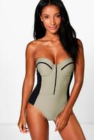 Boohoo Maderia Underwired Mesh Panel Swimsuit