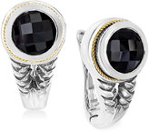 Effy Onyx (3-3/4 c.t. t.w.) Braid Earrings in Sterling Silver and 18k Yellow Gold