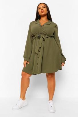 boohoo Plus Belted Reverse Collar Shift Dress