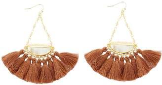 Panacea Glitter Crescent Tassel Fan Earrings