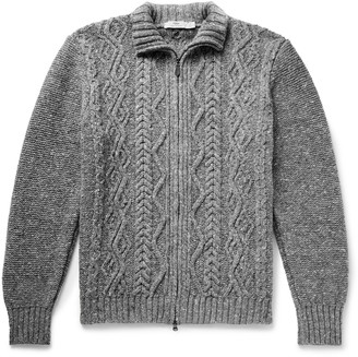 Inis Meáin Cable-Knit Merino Wool And Cashmere-Blend Zip-Up Cardigan