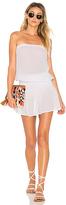 Bobi Gauze Strapless Dress in White. - size L (also in M)