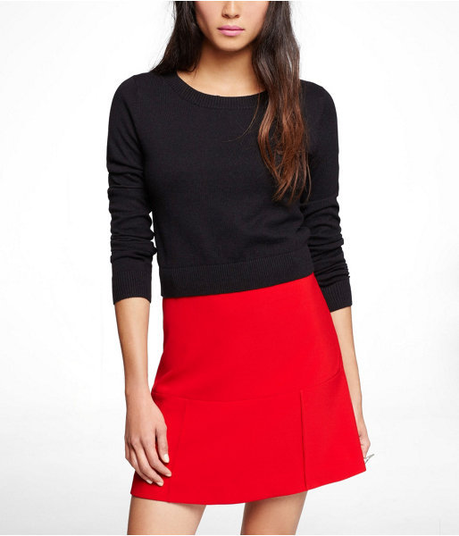 Express 18.5 Inch Cropped Crew Neck Sweater