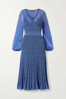 Missoni Wrap-effect Metallic Crochet-knit Midi Dress - Light blue
