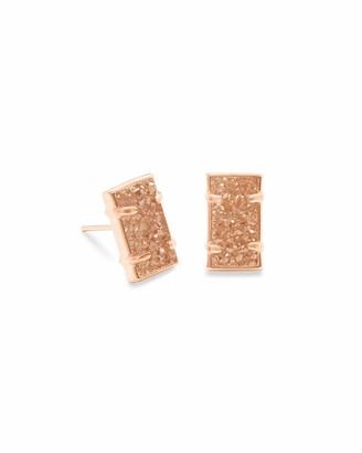 Kendra Scott Paola Sand Drusy Stone Rose Gold Rectangular Stud Earrings
