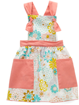 Salmon Floral Double-Pocket Apron Dress - Toddler & Girls