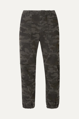 Nili Lotan French Military Cropped Camouflage-print Cotton-twill Tapered Pants - Gray