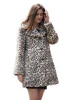 Adelaqueen Women's Elegant Vintage Leopard Print Lapel Faux Fur Coat Mid-Length Size XS