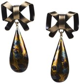 Christian Dior Metallic Gold Brown Brass Bow & Enameled Drop Earrings