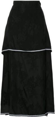 aganovich Floral Jacquard Layered Skirt
