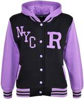 a2z4kids Kids Girls Boys R Fashion NYC Baseball Hooded Jacket Varsity Hoodie 5-13 Years