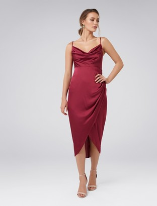 Forever New Holly Petite Cowl Neck Dress - Red Plum - 8