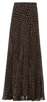 Ganni Polka-dot Georgette Maxi Skirt - Womens - Black