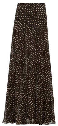 Ganni Polka-dot Georgette Maxi Skirt - Womens - Black