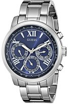 GUESS Women's U0330L9 Silver-Tone Multi-Function Watch with Iconic Blue Dial
