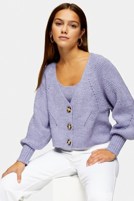 Topshop Womens Petite Lilac Balloon Sleeve Knitted Cardigan - Lilac