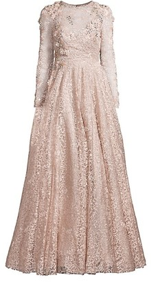 Mac Duggal Floral Applique Lace Long-Sleeve A-Line Gown