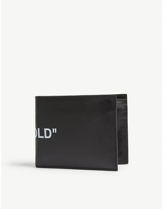 Off-White Black and White Quote Leather Bi Fold Wallet