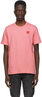 Comme des Garcons Pink and Red Heart Patch T-Shirt