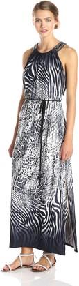 Sandra Darren Women's Sleeveless Self Tie Printed Maxi Dress
