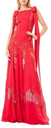 ZUHAIR MURAD Sleeveless Cady Lace Inset Bow Gown