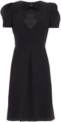 Giorgio Armani Bow-detailed Pleated Silk-crepe Mini Dress