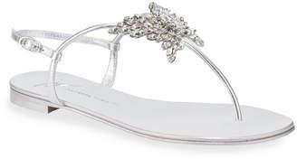 Giuseppe Zanotti Flat Metallic Leather Thong Sandals with Butterfly