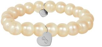 Jane Basch 14K 8Mm Pearl Dangling Heart Initial Bracelet (A-Z)