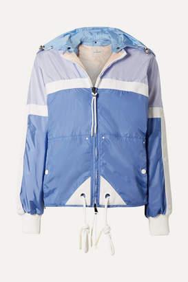 Moncler Hooded Grosgrain-trimmed Shell Jacket - Blue