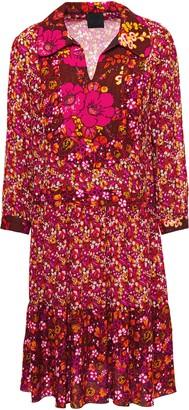 Anna Sui Georgette-paneled Jacquard-trimmed Floral-print Twill Shirt Dress