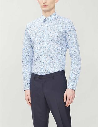 HUGO BOSS Abstract print slim-fit cotton shirt