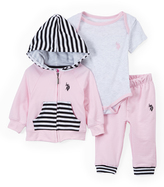 U.S. Polo Assn. Baby Pink Zip-Up Hoodie, Joggers & Bodysuit - Set of Three