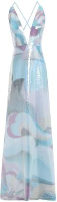Emilio Pucci Sequined Printed Silk Crepe De Chine Gown