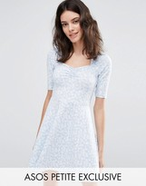 Asos Skater Dress with Sweetheart Neck in Ditsy Print